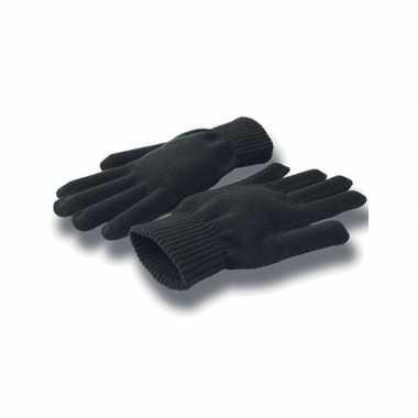 Gebreide winter handschoenen zwart voor volwassenen