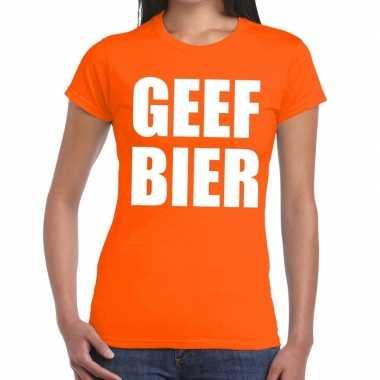 Geef bier fun t-shirt oranje voor dames