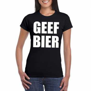 Geef bier fun t-shirt voor dames zwart