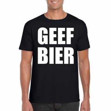 Geef bier fun t-shirt voor heren zwart