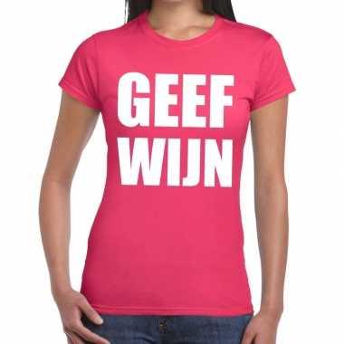 Geef wijn fun t-shirt roze voor dames