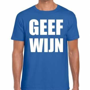 Geef wijn fun t-shirt voor heren blauw