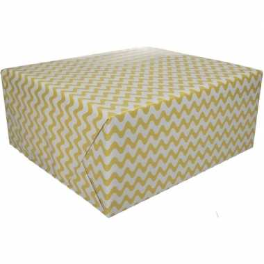Geel cadeaupapier met grafische print 70 x 200 cm