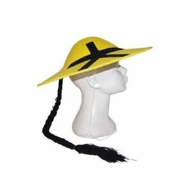 Geel chinees hoedje met vlecht