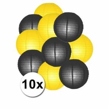 Geel en zwart lampionnen pakket 10x