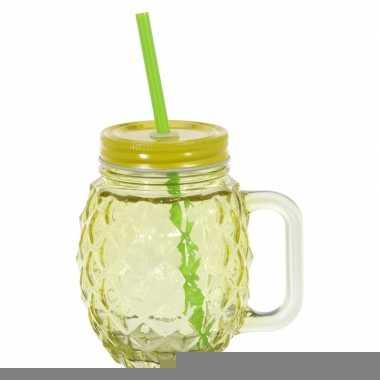 Geel glazen drink potje met rietje 450 ml