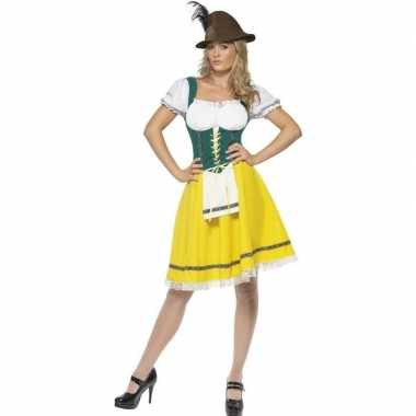 Geel/groen dirndl verkleedkleding voor dames