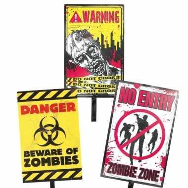Geel halloween waarschuwingsbord danger 38 cm