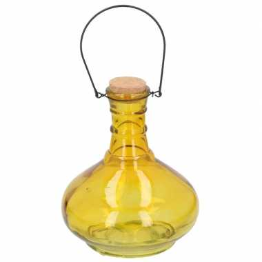 Geel insectenval/insectenvanger 21 cm van glas