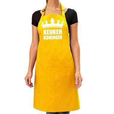 Geel keukenschort keuken koningin voor dames