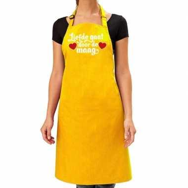 Geel keukenschort liefde gaat door de maag voor dames