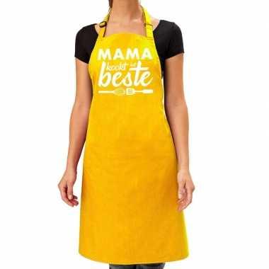 Geel keukenschort mama kookt het beste voor dames