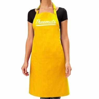 Geel keukenschort theemuts voor dames