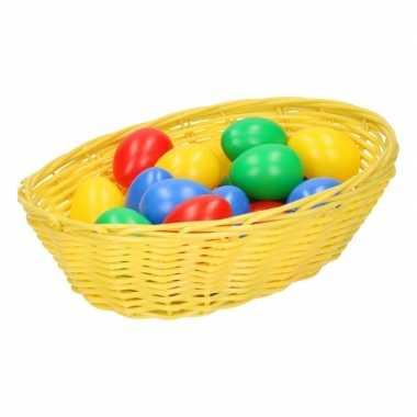 Geel mandje met gekleurde eieren 20 cm