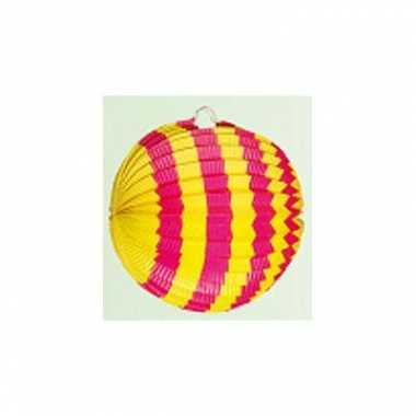 Geel met roze lampion 24 cm