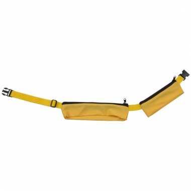 Geel sport heuptasje 2 vakken 80-107 cm voor volwassenen