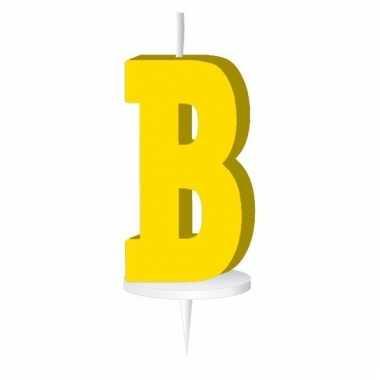 Geel taart kaarsje letter b