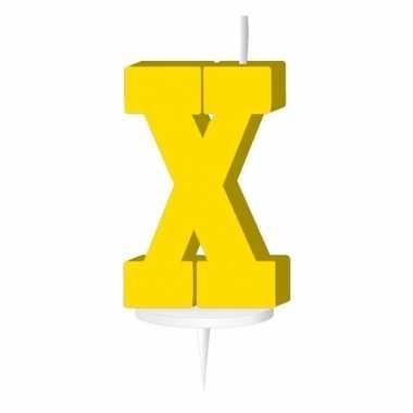 Geel taart kaarsje letter x