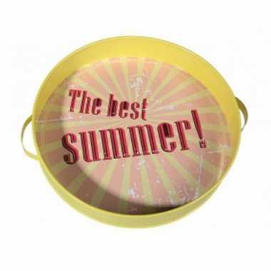 Geel vintage summer dienblad 30 cm