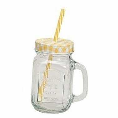 Geel/witte glazen drink weckpotje met rietje 450 ml