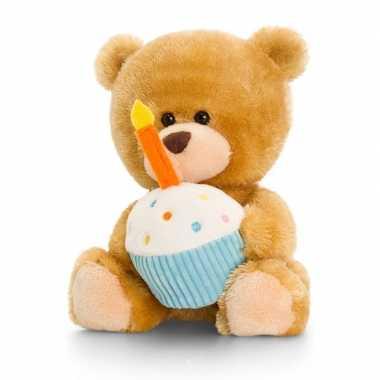 Gefeliciteerd beertje knuffeldier met taartje/gebakje 14 cm cadeau vo
