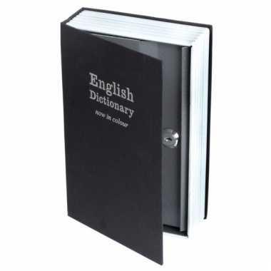 Geheime kluis in de vorm van boek zwart 24 x 16 cm