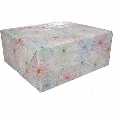 Gekleurd cadeaupapier met bloemen 70 x 200 cm