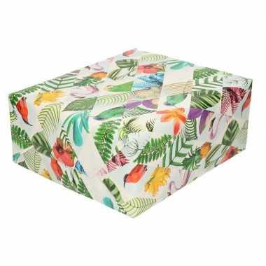 Gekleurd cadeaupapier met tropische vogels 70 x 200 cm