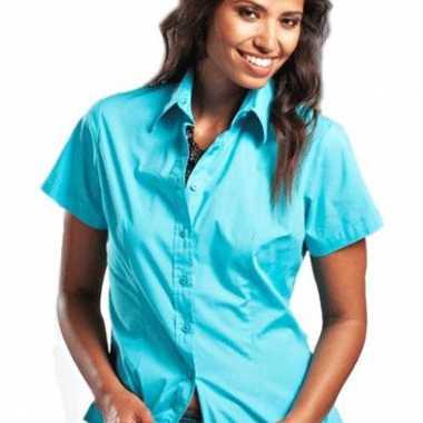 Gekleurd dames overhemd met korte mouwen