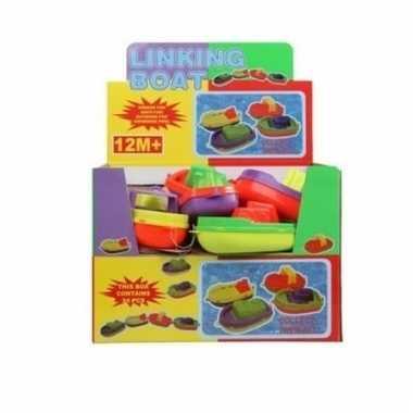 Gekleurd speelgoed bootje 14 cm