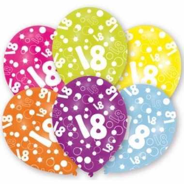 Gekleurde 18 jaar verjaardag ballonnen 6 stuks
