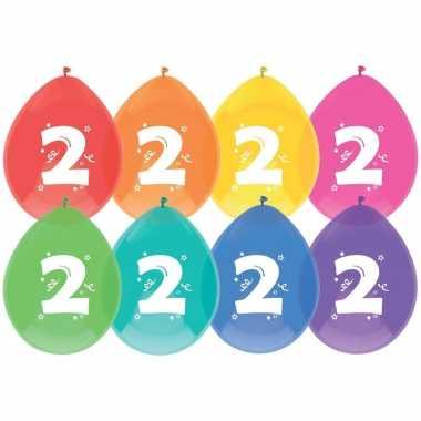 Gekleurde ballonnen 2 jaar 24 stuks