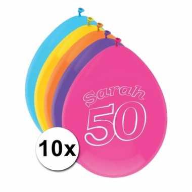 Gekleurde ballonnen 50 jaar 10 stuks