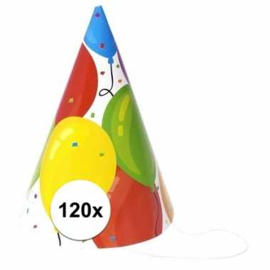 Gekleurde ballonnen feesthoedjes 120 stuks