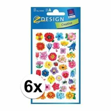Gekleurde bloemen stickertjes 6 vellen