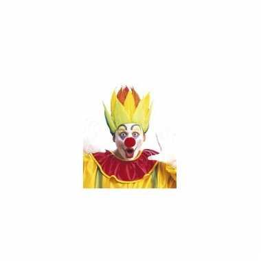 Gekleurde clownspruik shock