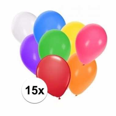 Gekleurde feestballonnen 15 stuks