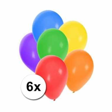 Gekleurde feestballonnen 6 stuks