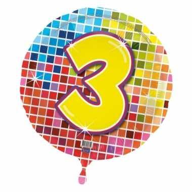 Gekleurde folie ballon 3 jaar