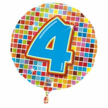 Gekleurde folie ballon 4 jaar