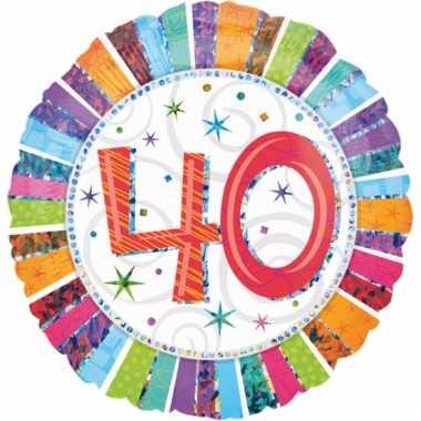 Gekleurde folie ballon 40 jaar