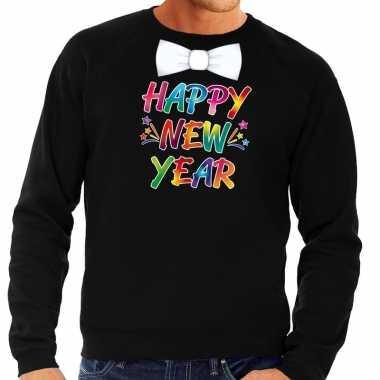 Gekleurde happy new year met strikje sweater / trui zwart voor heren