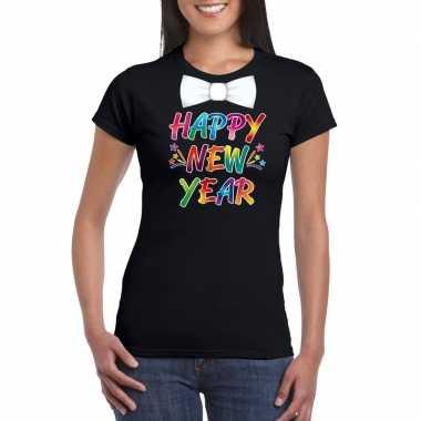 Gekleurde happy new year met strikje t-shirt zwart voor dames