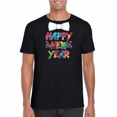 Gekleurde happy new year met strikje t-shirt zwart voor heren