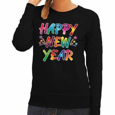 Gekleurde happy new year sweater / trui zwart voor dames
