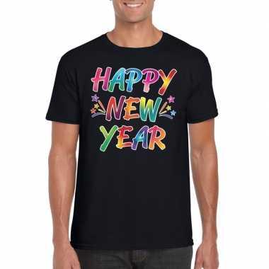 Gekleurde happy new year t-shirt zwart voor heren