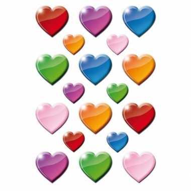 Gekleurde hart figuren stickervellen met 54 stickers