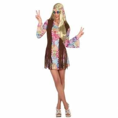 Gekleurde hippie jurk met cirkels voor dames