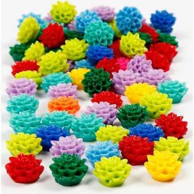 Gekleurde hobbykralen bloemen 250 stuks