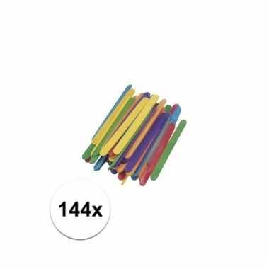 Gekleurde houten knutsel ijsstokjes 144 stuks